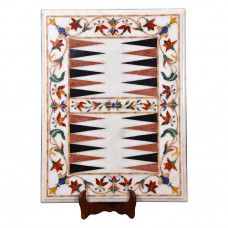 Vintage Backgammon White Marble Inlaid With Semi Precious Gemstones Well Decorated Pietra Dura Inlay Craft Design Best For Indoor Game