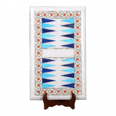 Handmade White Marble Inlay Backgammon Game Decorated With Semi Precious Gemstones Beautiful Floral Design