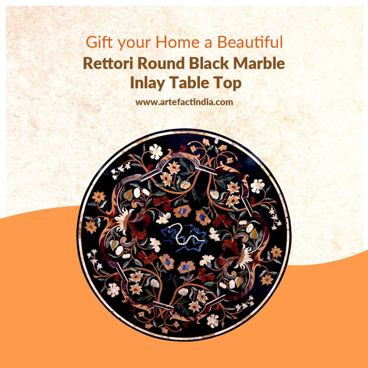 Gift your Home a Beautiful Rettori Round Black Marble Inlay Tabletop