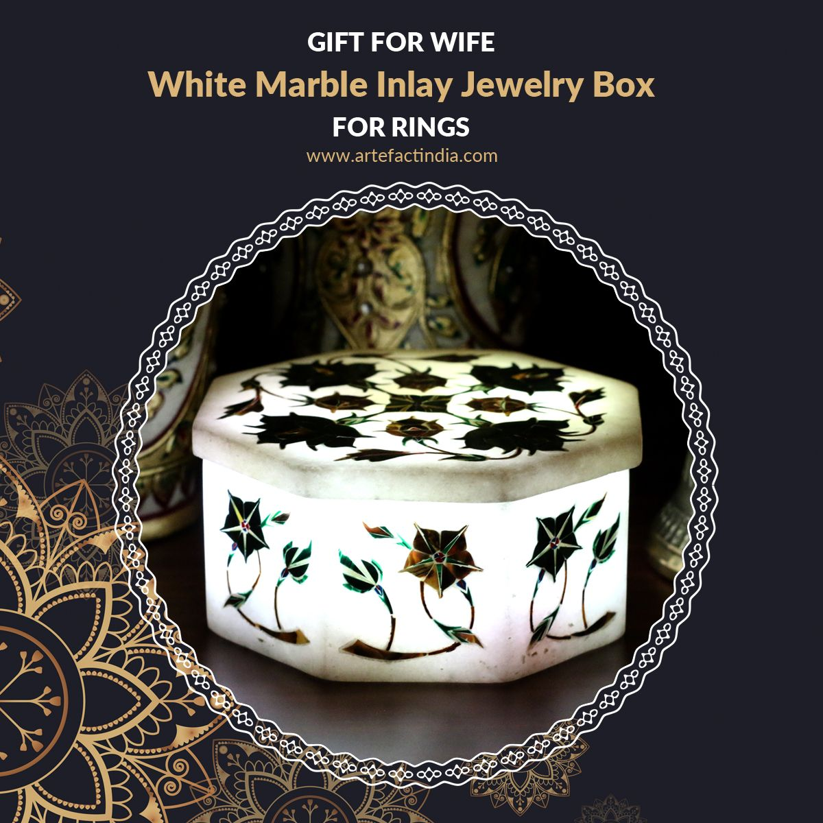 Gift for Wife, White Marble Inlay Jewellery Box for Rings