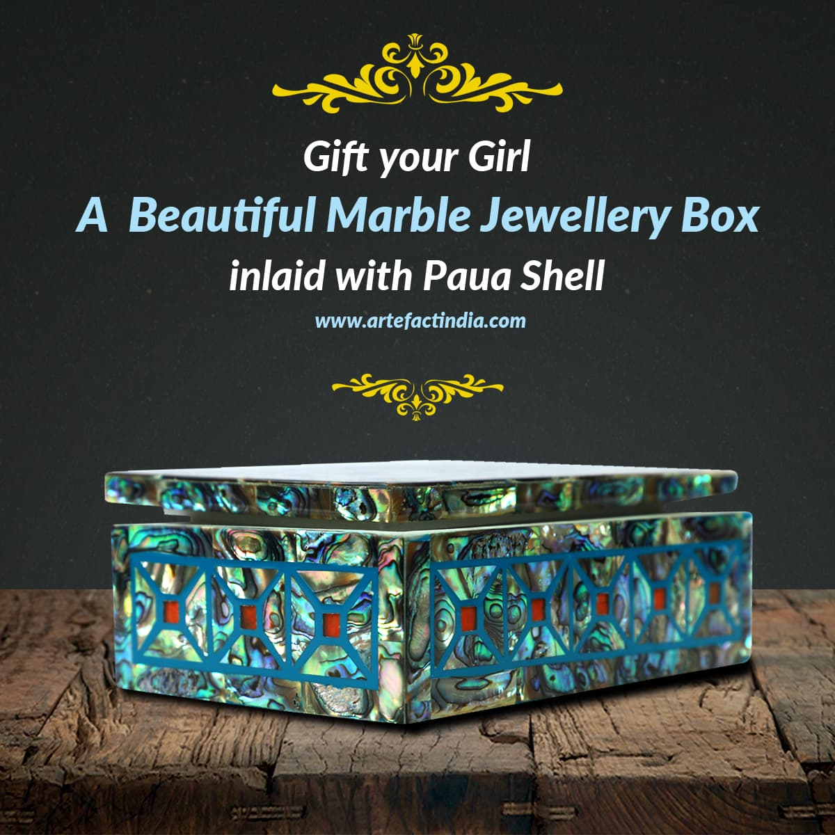 Gift your Girl a Beautiful Marble Jewellery Box inlaid with Paua Shell