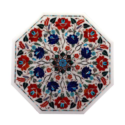 Handmade Octagonal White Marble Decorative Jewelry Box