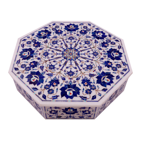 Octagonal White Marble Jewelry Box Inlaid Lapislazuli Gemstone