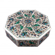 Octagonal White Marble Antique Jewelry Box Inlaid Malachite Gemstone