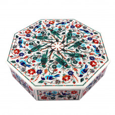 Octagonal White Unique Jewelry Boxes Pietra Dura Art Piece