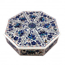 Octagonal White Marble Inlay Elephant Jewelry Box
