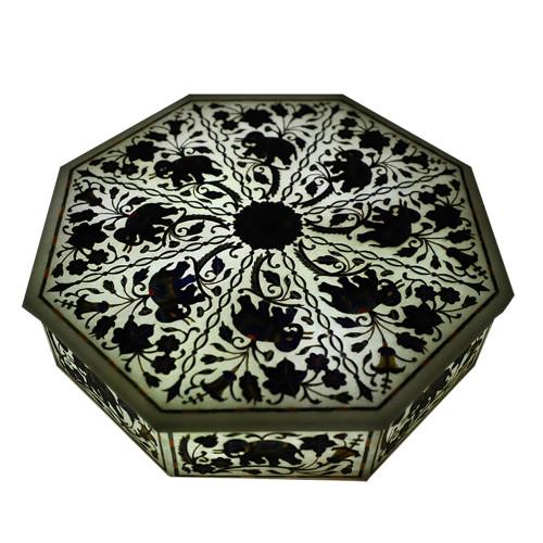 Octagonal White Marble Inlay Elephant Jewelry Box