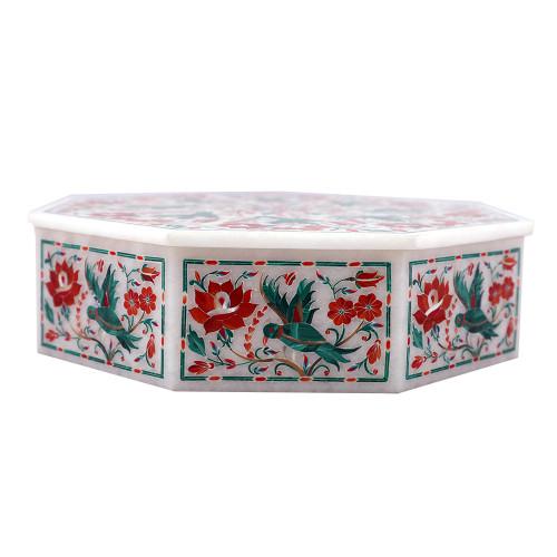 Octagonal White Marble Jewelry Storage Box Inlaid With Semiprecious  Gemstones