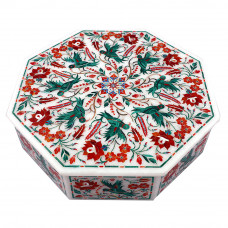 Octagonal White Marble Jewelry Storage Box Inlaid With Semiprecious  Gemstones