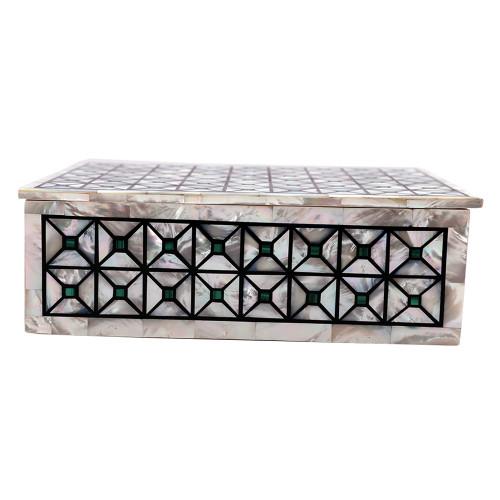 Rectangular White Jewelry Box Pietra Dura Art