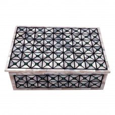 Rectangular White Jewelry Box Pietra Dura Art