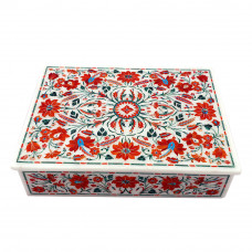 Rectangular White Marble Decorative Jewelry Box Inlaid With Carnelian Stone
