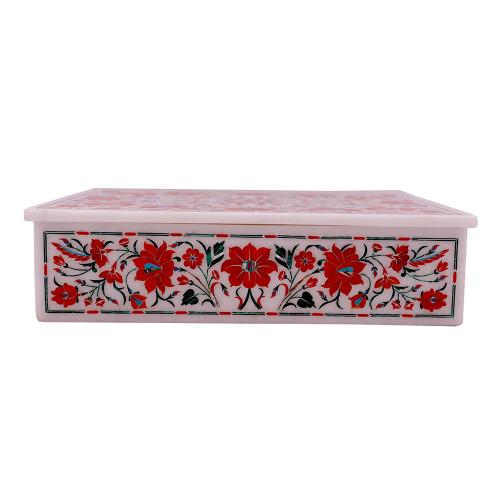 Rectangular White Marble Decorative Jewelry Box Inlaid With Carnelian Stone