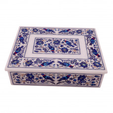 Beautiful Decorative Tabletop Jewelry Box Pietra Dura Lapislazuli