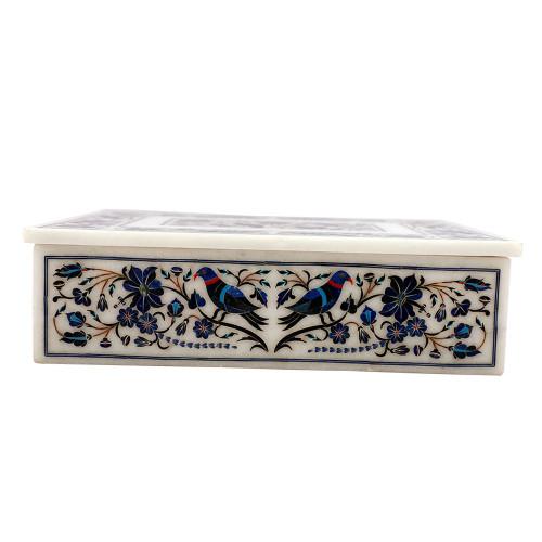 Beautiful Decorative Tabletop Jewelry Box Pietra Dura Lapislazuli