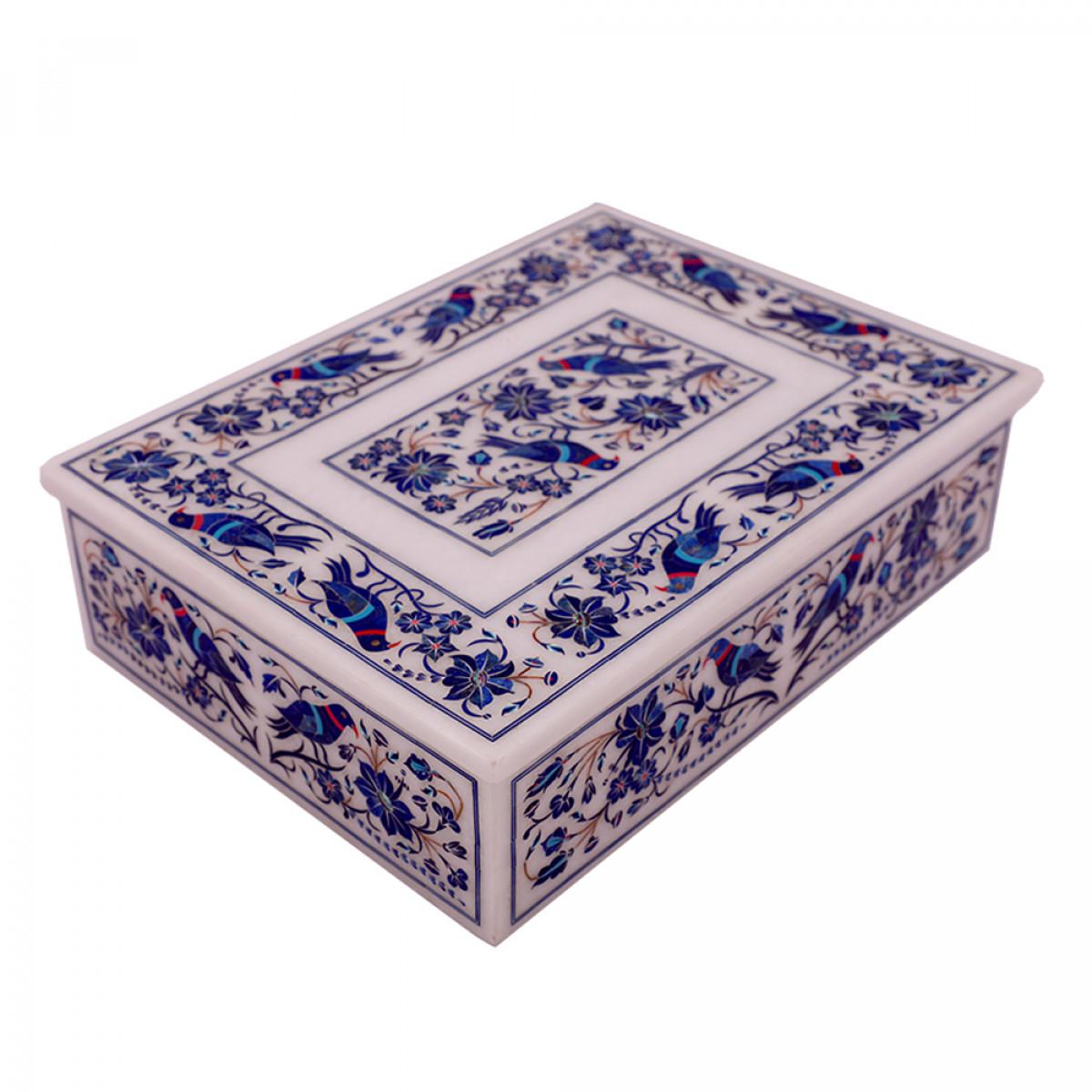 Hand Crafted Pietra Dura Art Inlay Marble Jewelry Box