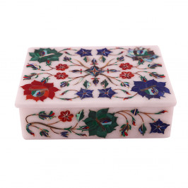Beautiful Floral Decorative Jewelry Box Inlaid Semiprecious Gemstone