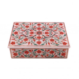 Fine Decorative Rectangular White Marble Jewelry Box