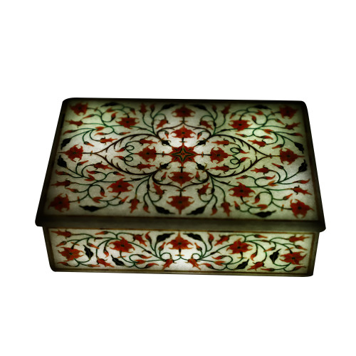 Fine Decorative Rectangular White Marble Jewelry Box
