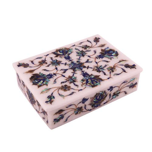 White Marble Antique Jewelry Box Inliad Paua Shell Gemstone