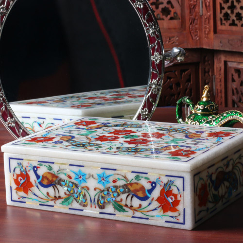 Indian Peacock Inlay Antique Jewelry Box Pietra Dura