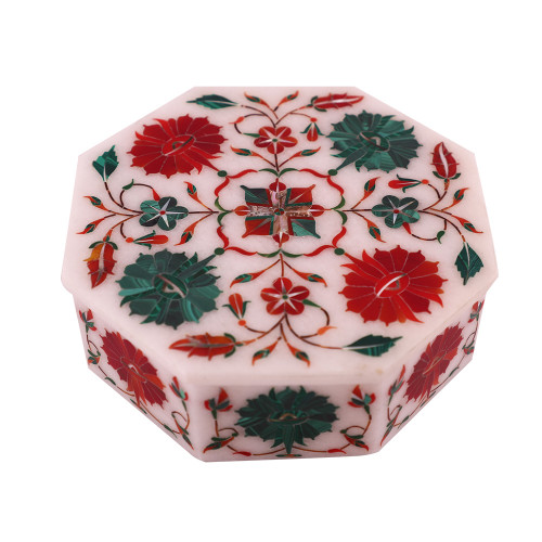 Octagonal White Marble Decorative Jewelry Box