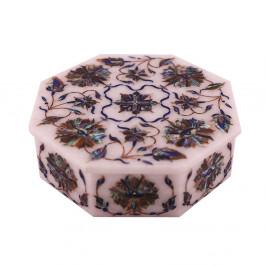Octagonal White Stone Jewelry Box Pietra Dura Gemstones