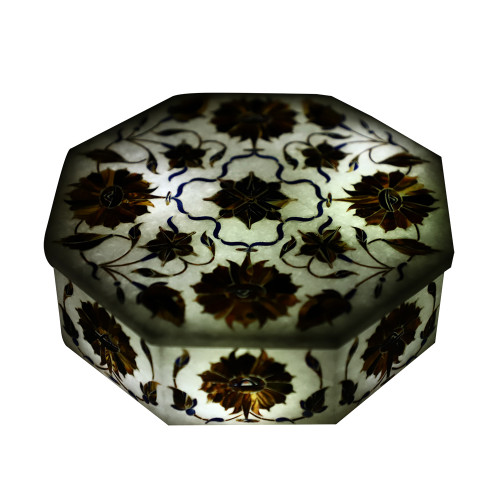 Octagonal White Stone Jewelry Box Pietra Dura Gemstones