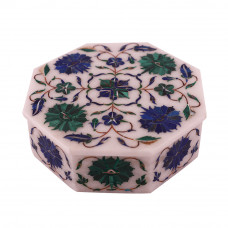 Octagonal White Marble Handicrafts Antique Jewelry Box