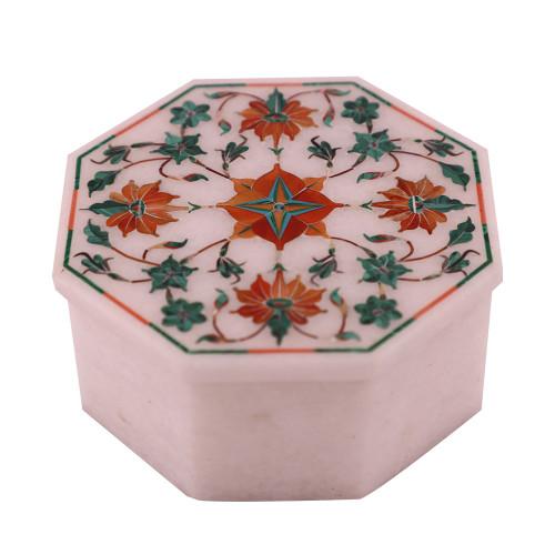 Handmade Handicrafts White Marble Jewelry Box