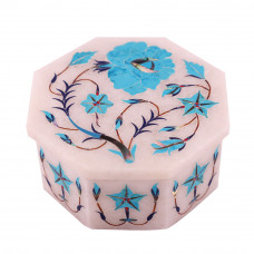 Turquoise Gemstone Inlay Octagonal White Marble Jewelry Box