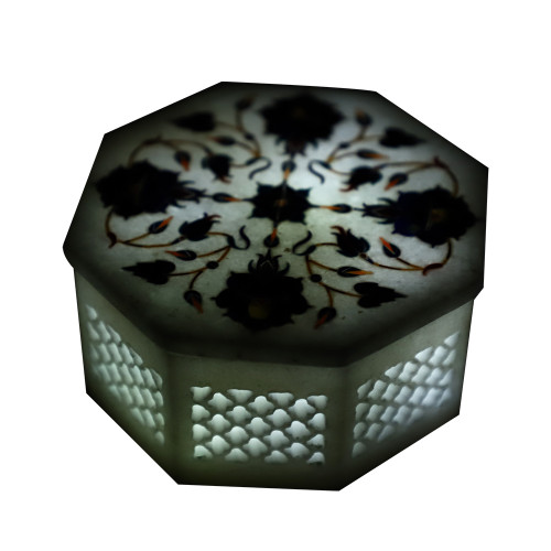 Lattice Pietra Dura Art Octagonal White Marble Jewelry Box