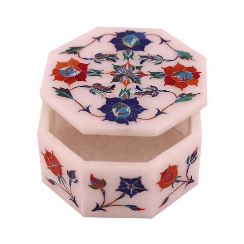 Handmade Octagonal White Marble Jewelry Holder