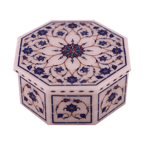 Flower Decorative Jewelry Box Inlaid Lapislazuli Gemstone