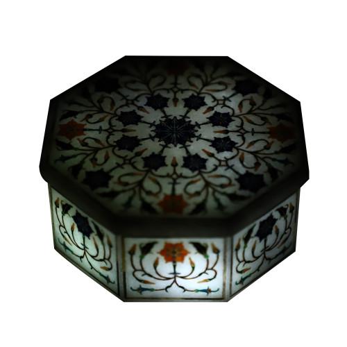 Octagonal White Antique Jewelry Box Pietra Dura