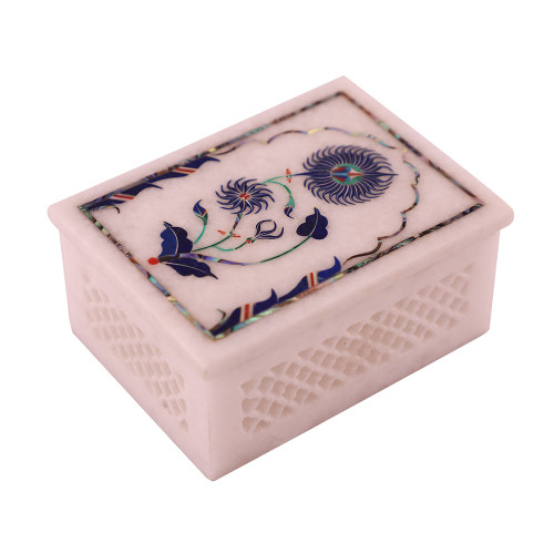 Rectangular White Marble Jewelry Box In Lattice Design