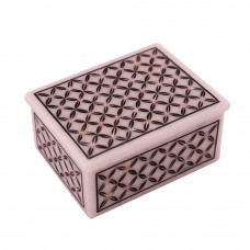 Rectangular White Marble Antique Jewelry Box Inlaid With Black Onyx Gemstone