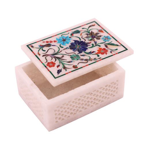 Rectangular White Marble Tabletop Jewelry Box