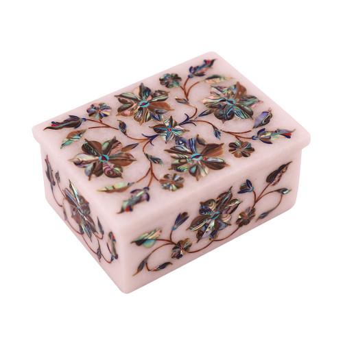 Rectangular White Marble Jewelry Storage Box Inlaid Paua Shell Stone