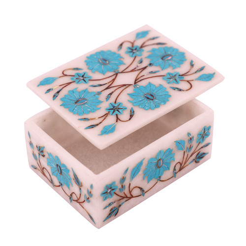 Rectangular White Jewelry Box Mosaic Semiprecious Gemstones