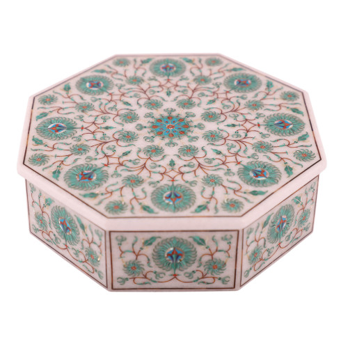 Fine Decorative White Marble Antique Jewelry Box Inlaid Malachite Gemstone