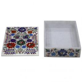 Unique Marble Box Inlaid Lapis Lazuli Gemstone