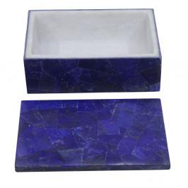 Handmade Marble Inlay Rectangular Box Inlaid Lapis Lazuli