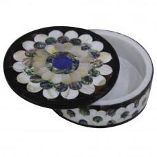 Round WhiteMarble Inlay Box With Pietre Dure Art