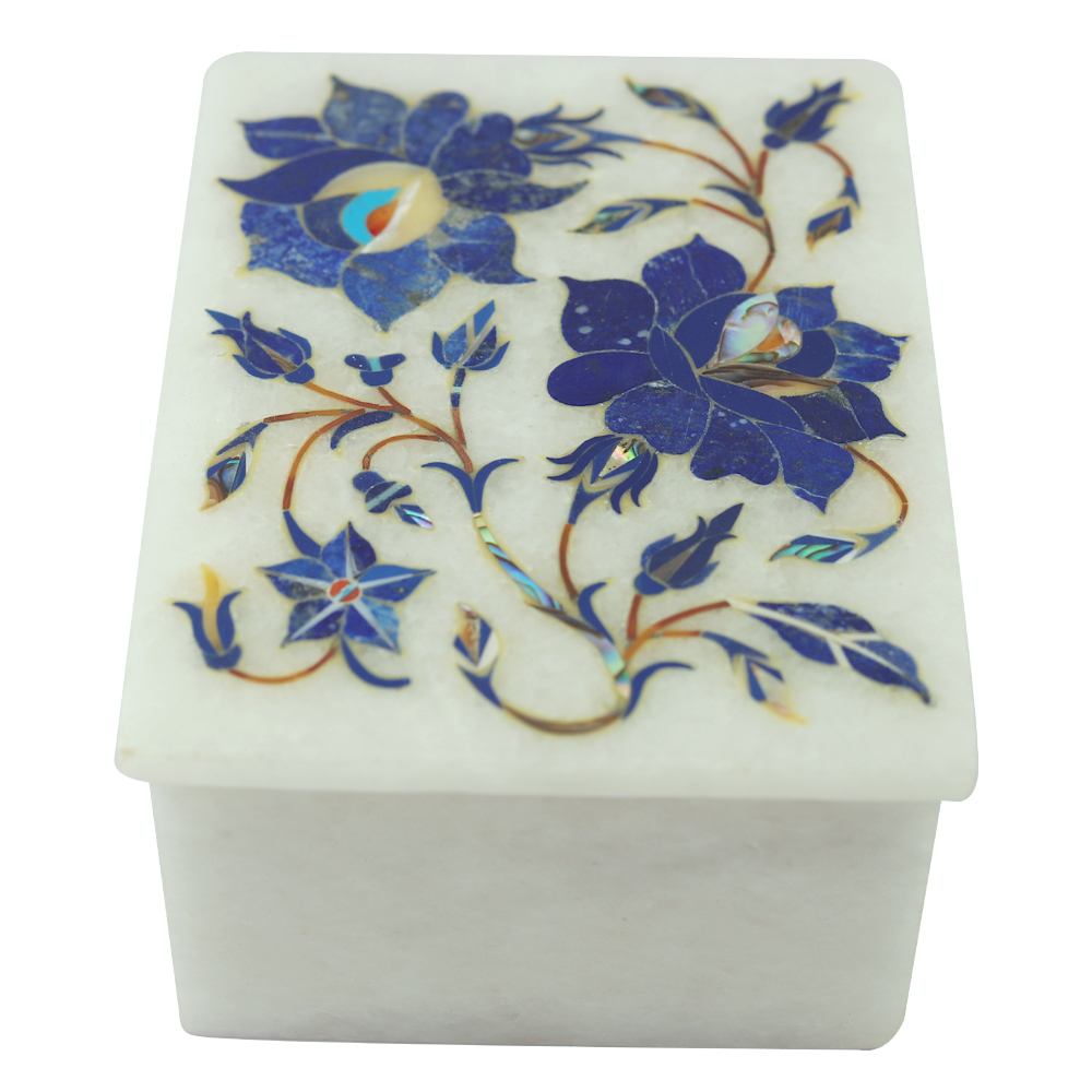 White Marble Jewellery Box Floral Inlay worked Box