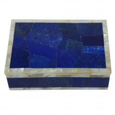 Lapislazuli Gemstone Inlay Marble Trinket Box