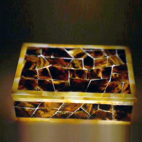 Vintage Inlaid Marble Art Jewelry Box