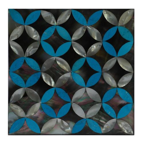 Square White Marble Jewelry Box Inlaid Multi Color Gemstones