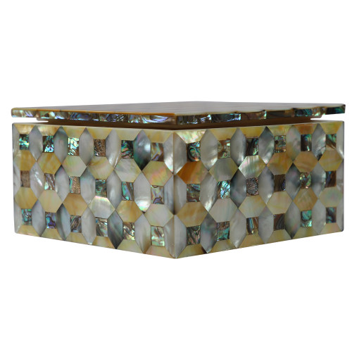 Paua Shell Inlay Square White Marble Jewelry Box For Anniversary Gift