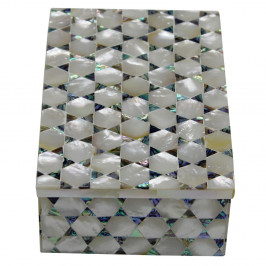 Rectangular Marble Inlay Jewelry Box With Mather Of Pearl Gemstone
